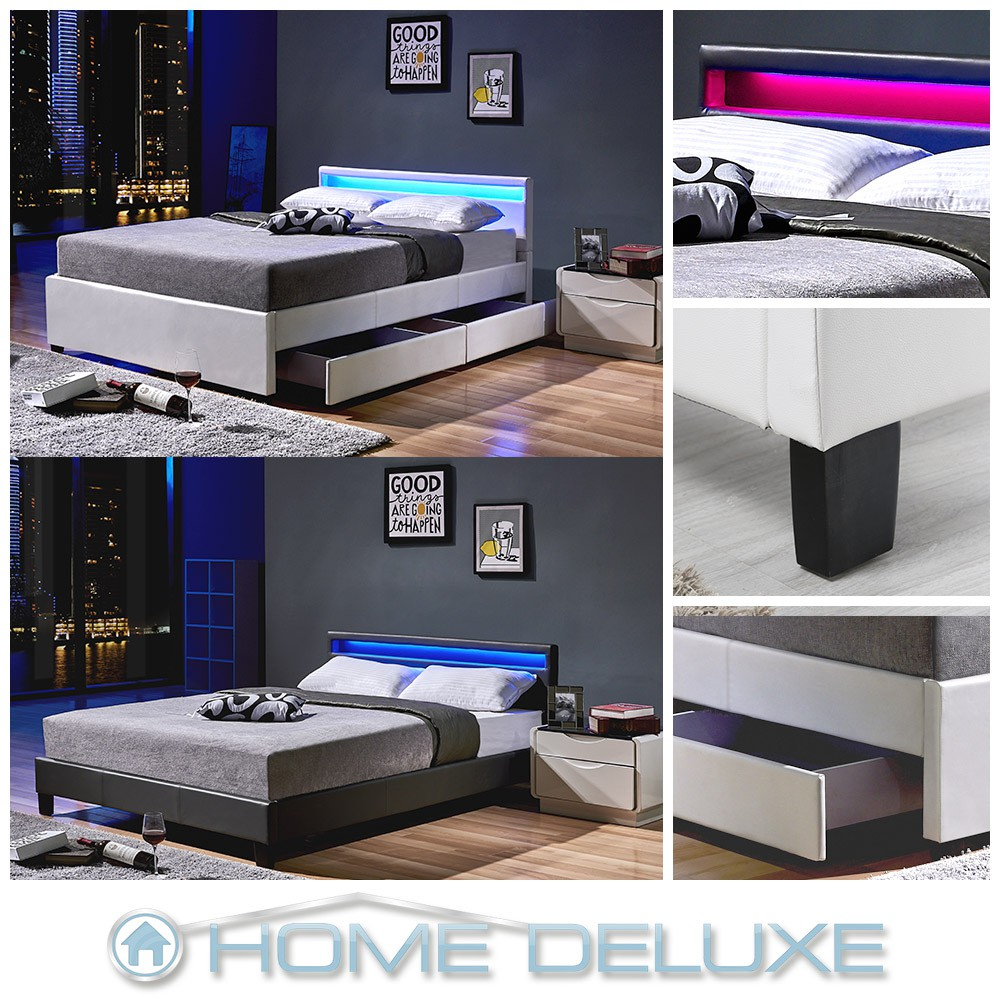 led doppelbett lederbett bettgestell lattenrost kunstlederbett bett polsterbett ebay. Black Bedroom Furniture Sets. Home Design Ideas