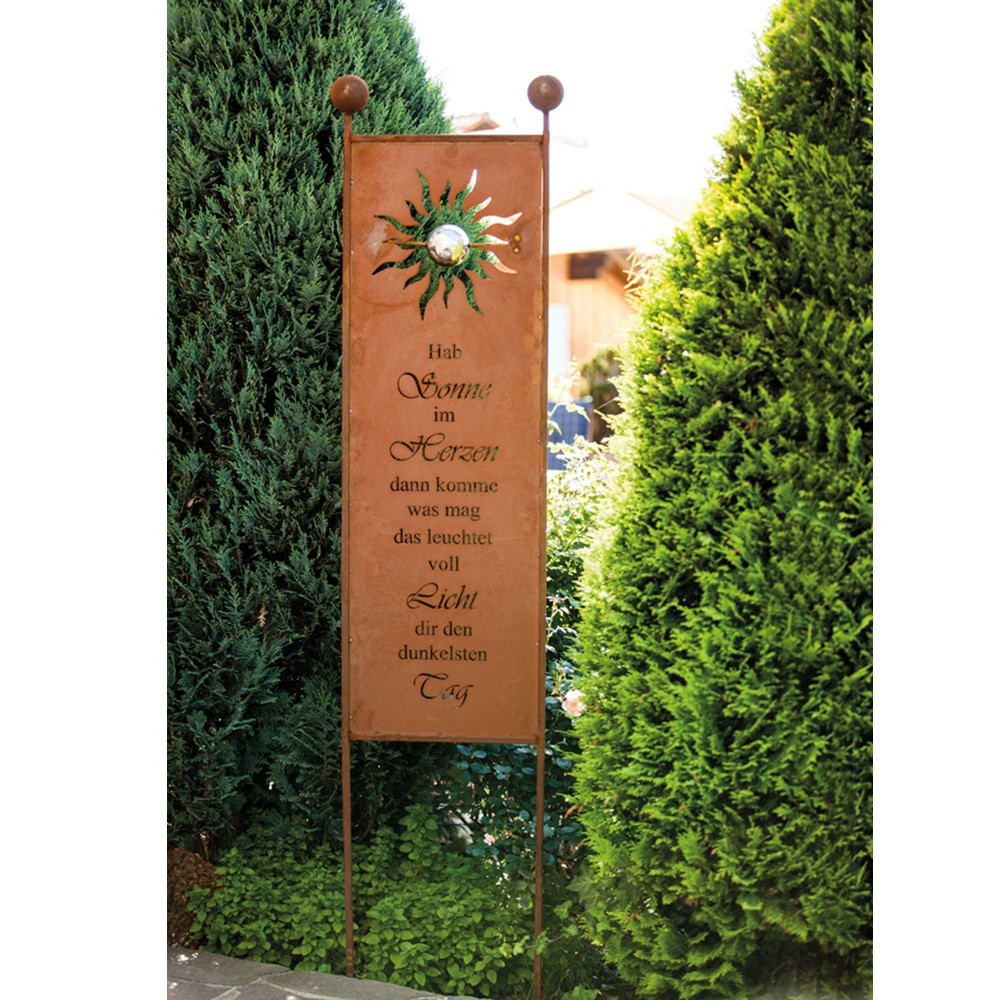 Rost gartenstecker gartenschild sunlight - Gartendekoration metall ...