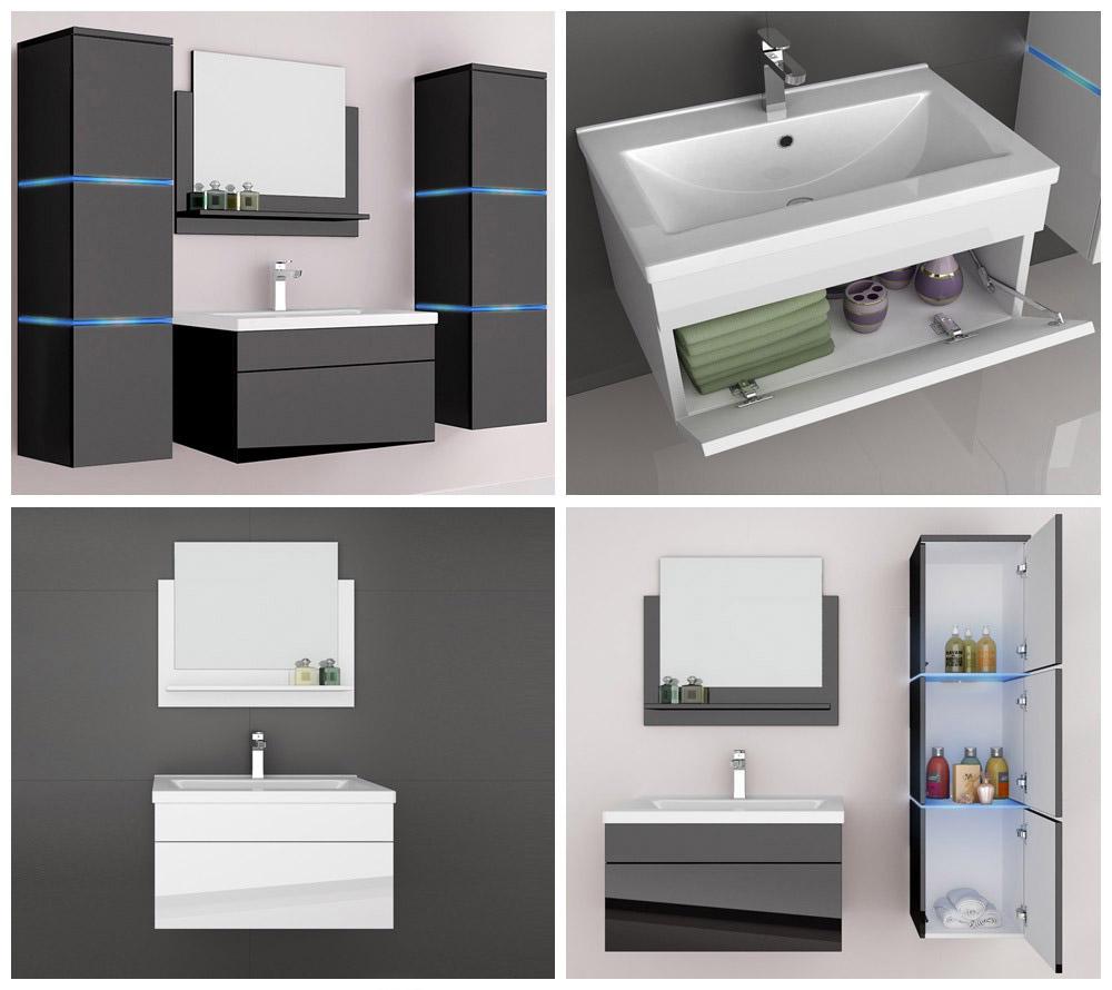 badm bel badezimmerm bel badezimmer waschbecken waschtisch schrank spiegel set ebay. Black Bedroom Furniture Sets. Home Design Ideas