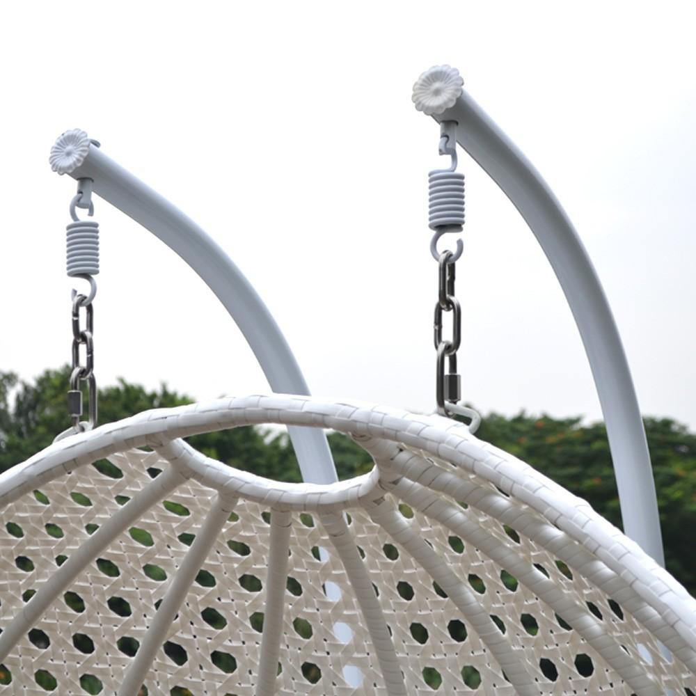 polyrattan h ngesessel twin weiss komplett inkl regenabdeckung. Black Bedroom Furniture Sets. Home Design Ideas