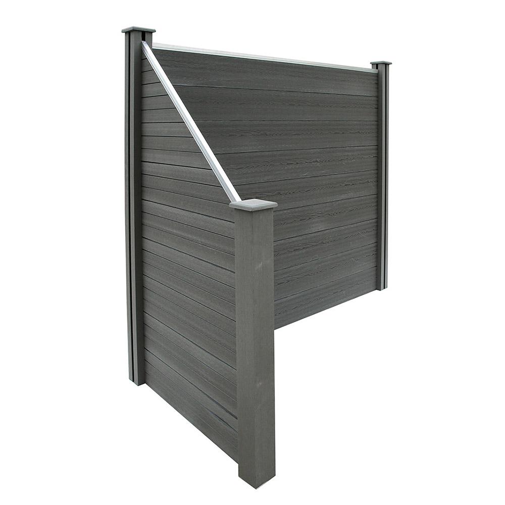 Wpc Sichtschutzzaun V2 Grau 1x Element 2x Pfosten 1x Schragelement