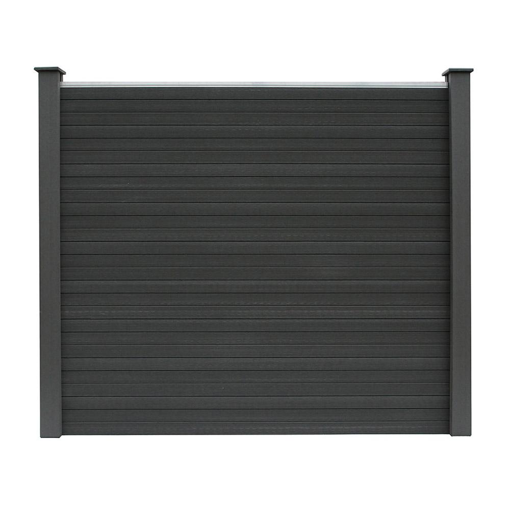 wpc sichtschutzzaun sichtschutz v2 grau 170 x 180 cm 2x element 3x pfosten. Black Bedroom Furniture Sets. Home Design Ideas