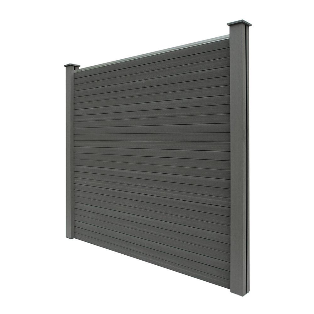 wpc sichtschutzzaun sichtschutz v2 grau 170 x 180 cm 3x element 4x pfosten. Black Bedroom Furniture Sets. Home Design Ideas