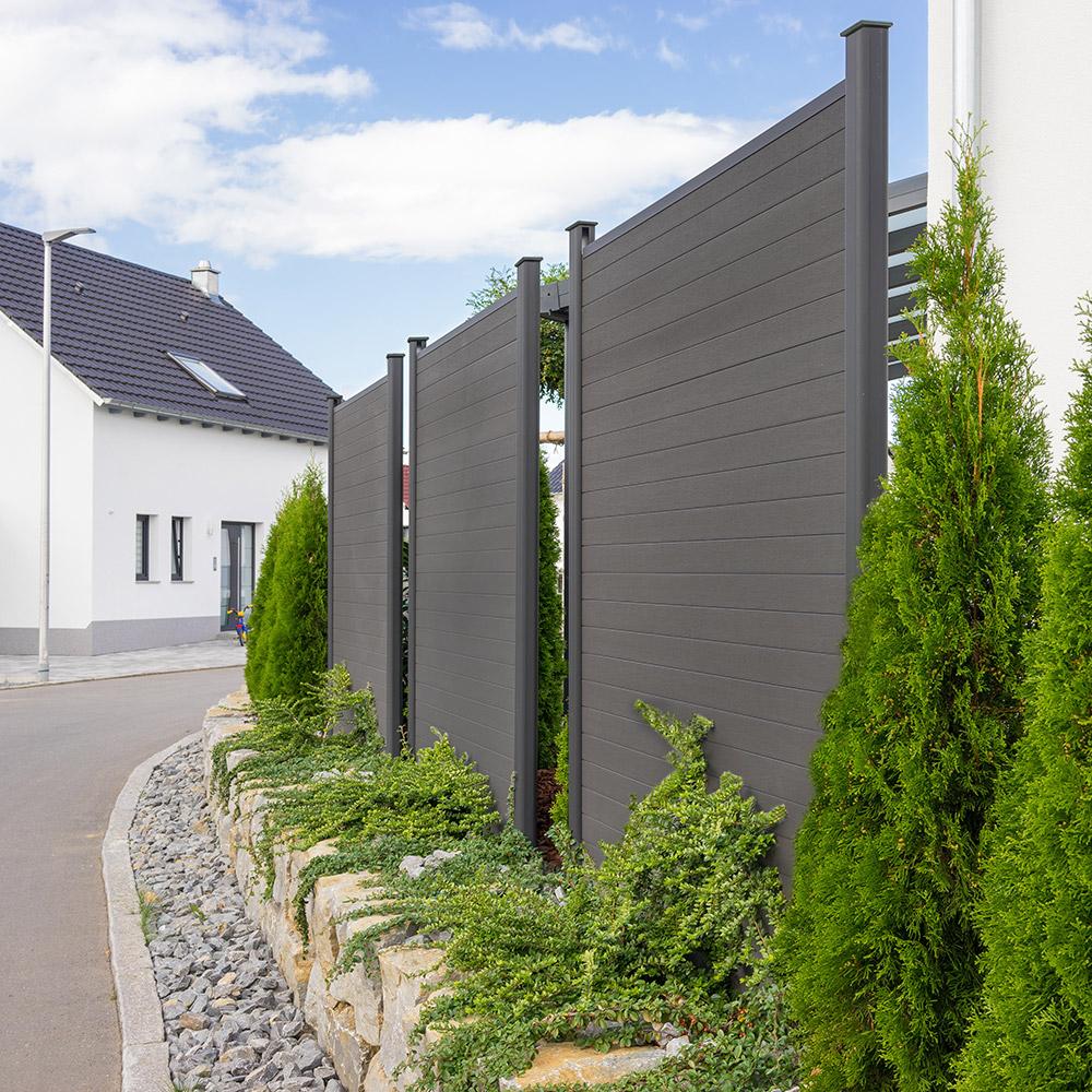 Wpc Sichtschutzzaun Sichtschutz V2 Grau 170 X 180 Cm 3x Element