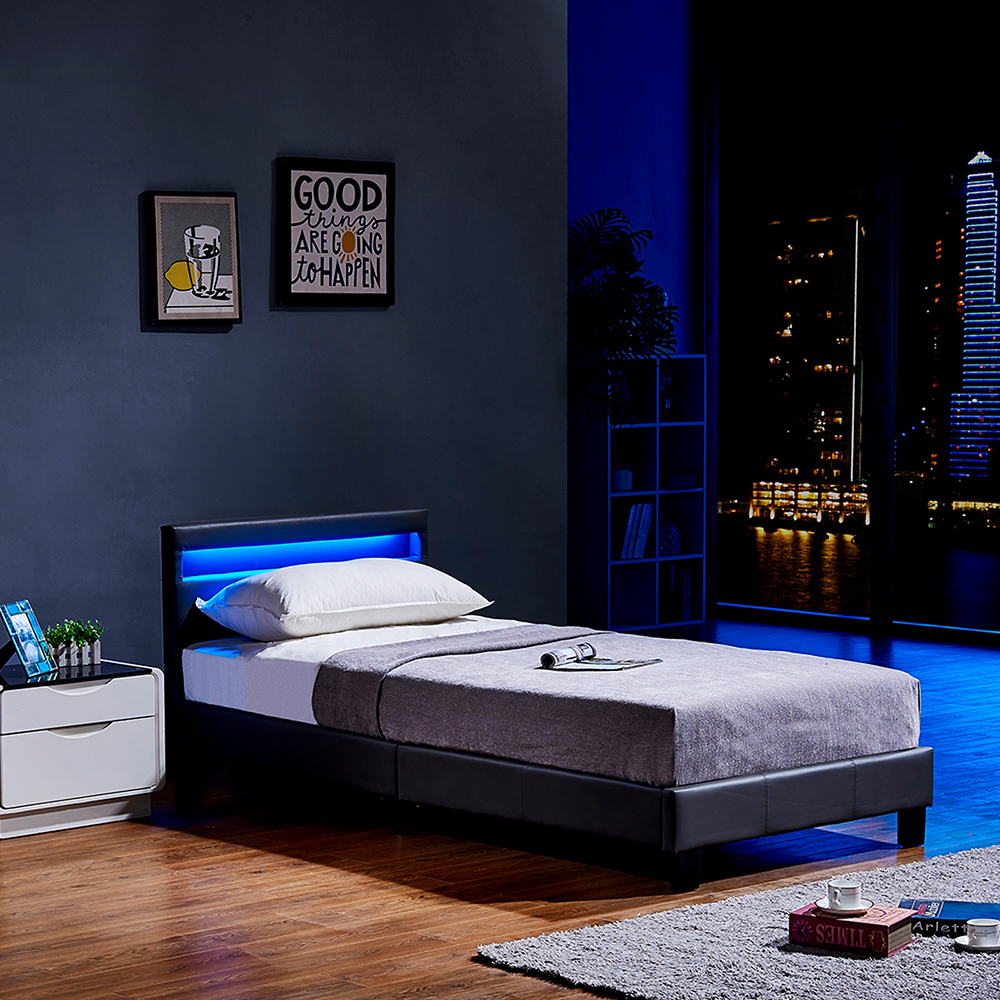 led bett astro 90 x 200 dunkelgrau. Black Bedroom Furniture Sets. Home Design Ideas