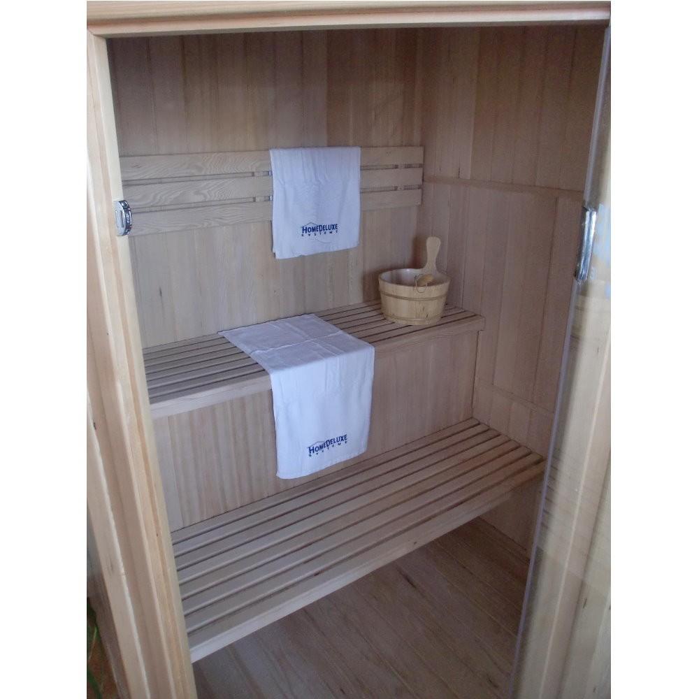 home deluxe sauna saunakabine elementsauna heimsauna massivholzsauna harviaofen ebay. Black Bedroom Furniture Sets. Home Design Ideas