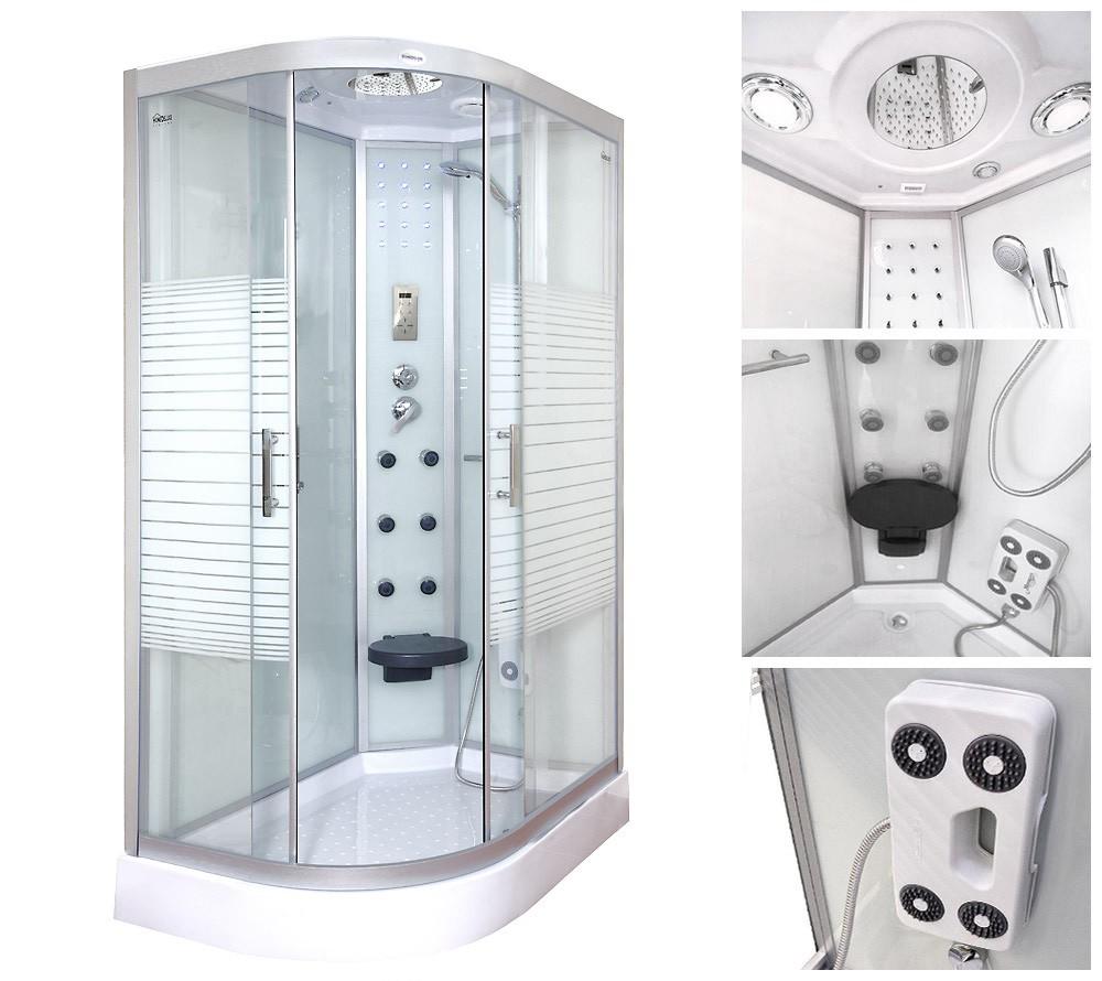 Shower Cabin White Pearl 120x80 left
