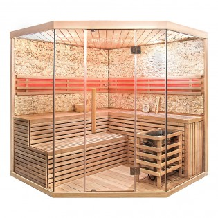 Traditionelle Sauna Skyline XL BIG Kunststeinwand – Bild 1