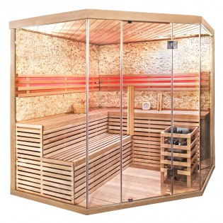 Traditionelle Sauna Skyline XL BIG Kunststeinwand – Bild 2