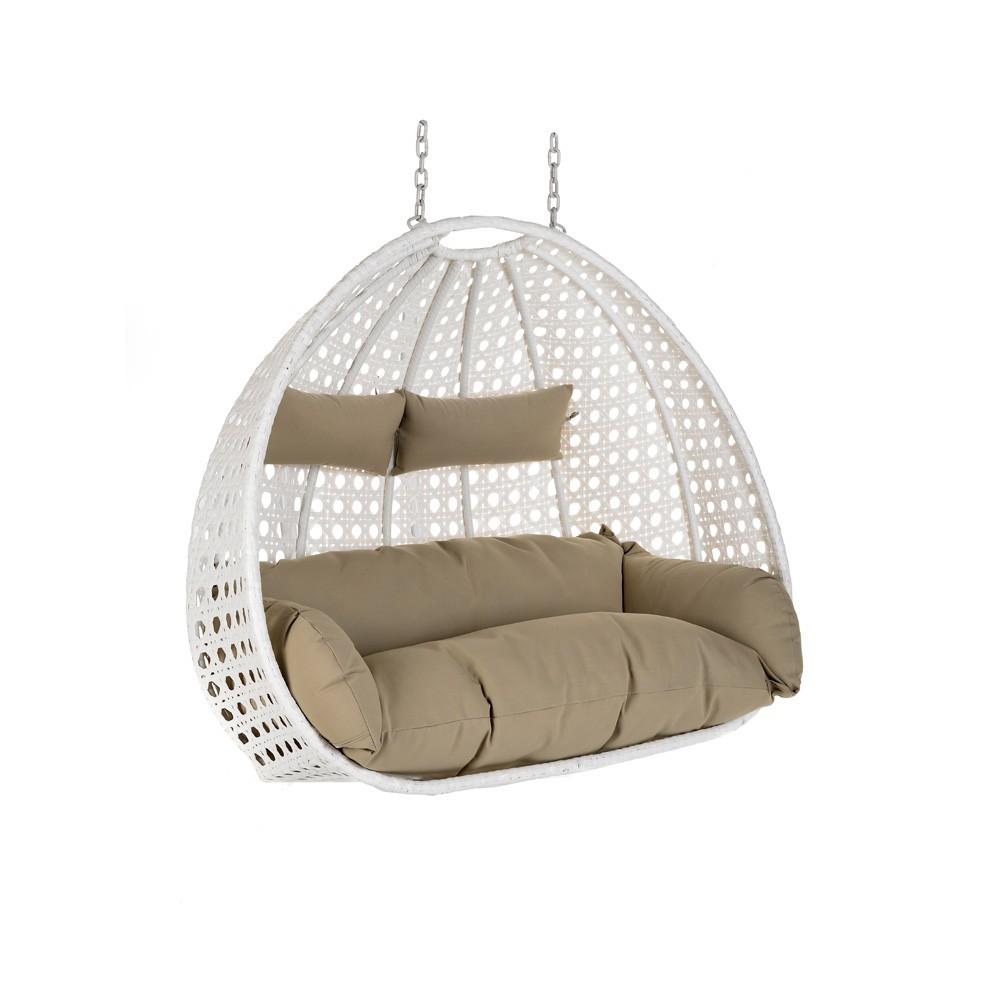 polyrattan h ngesessel twin weiss korb kissen. Black Bedroom Furniture Sets. Home Design Ideas