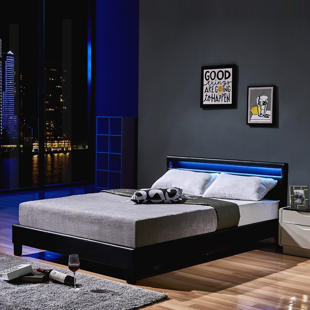 led bett astro 140 x 200 schwarz. Black Bedroom Furniture Sets. Home Design Ideas