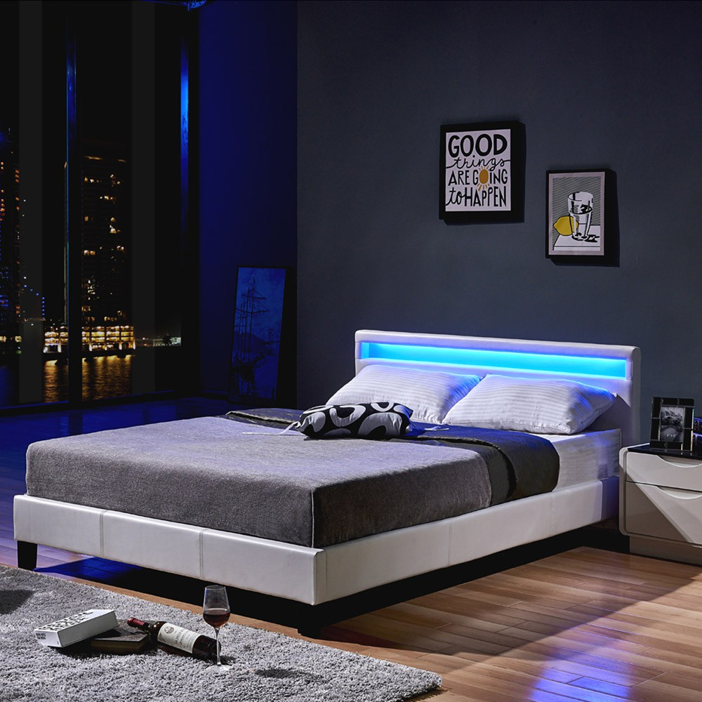 led bett astro 140 x 200 wei. Black Bedroom Furniture Sets. Home Design Ideas