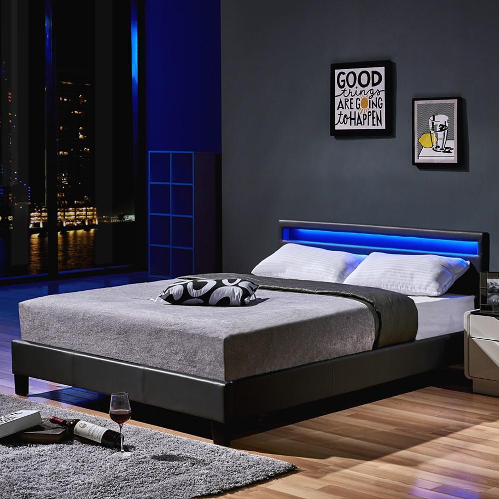 led bett astro 140 x 200 dunkelgrau. Black Bedroom Furniture Sets. Home Design Ideas