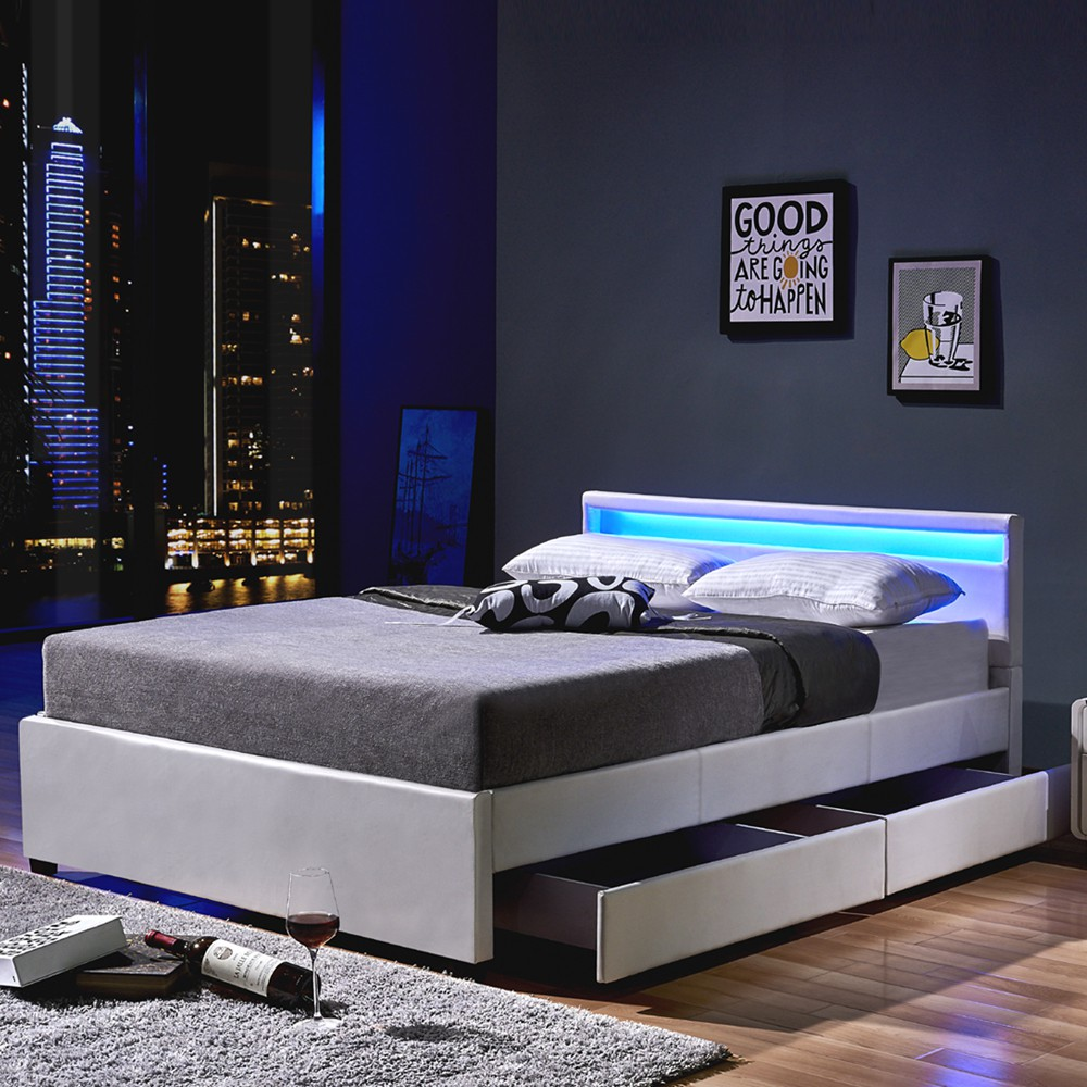 led bett nube mit schubladen 140 x 200 wei. Black Bedroom Furniture Sets. Home Design Ideas