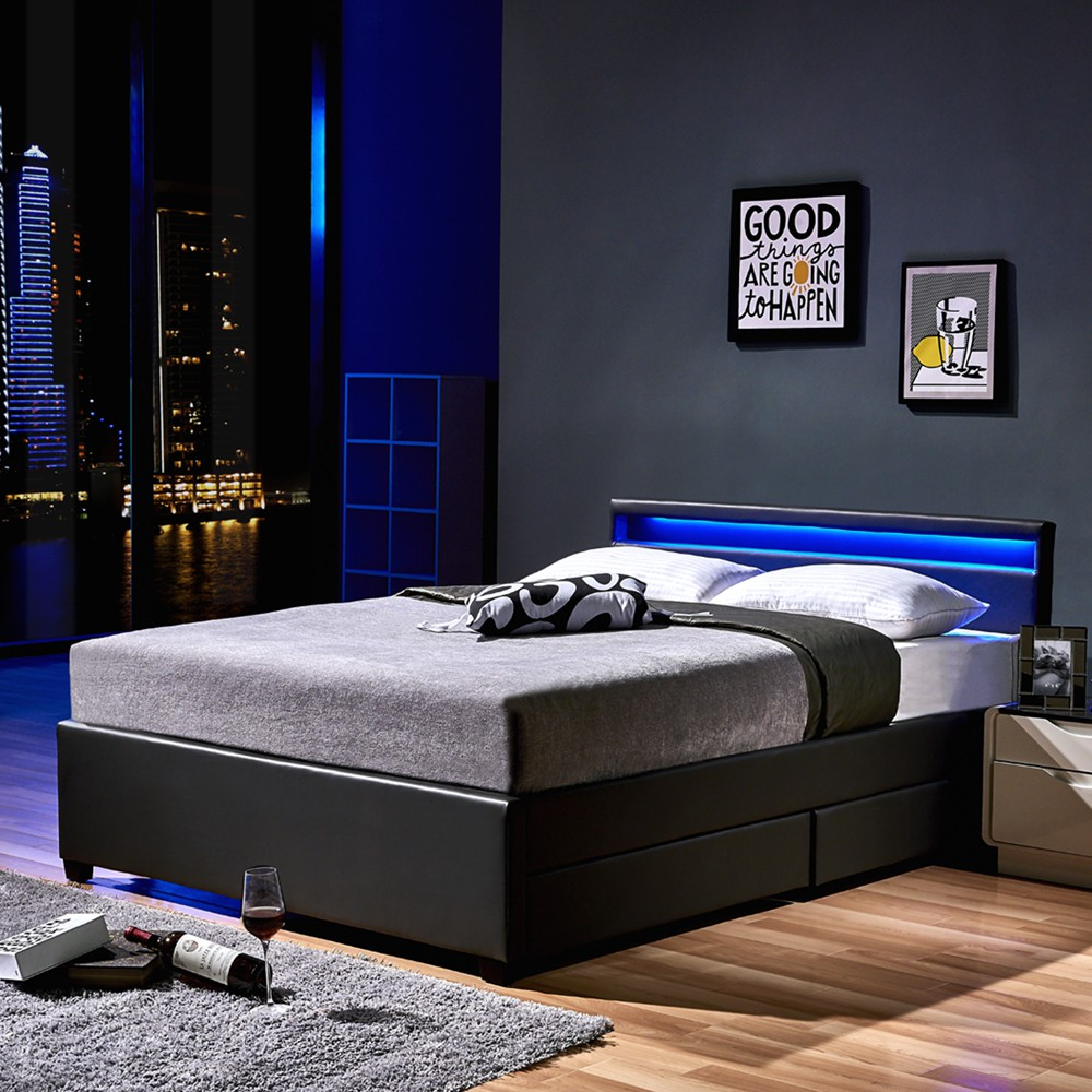 led bett nube mit schubladen 140 x 200 dunkelgrau. Black Bedroom Furniture Sets. Home Design Ideas